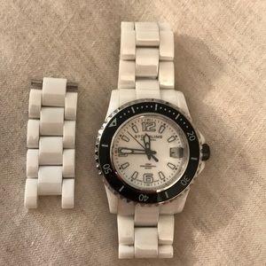 Stuhrling Original White Ceramic Quartz Watch